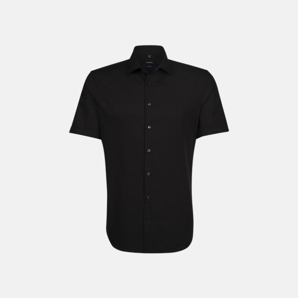 Svart (herr) Kortärmade Seidensticker skjortor med reklamlogo