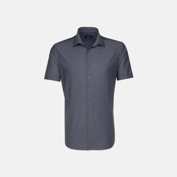 Anthracite (herr) Kortärmade Seidensticker skjortor med reklamlogo