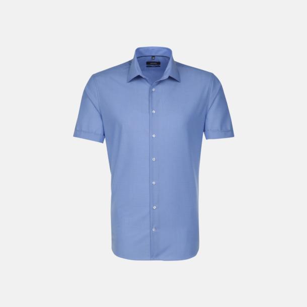 Midblue (herr) Kortärmade Seidensticker skjortor med reklamlogo
