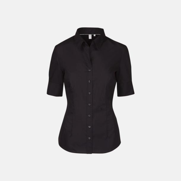 Svart (dam) Kortärmade Seidensticker skjortor med reklamlogo