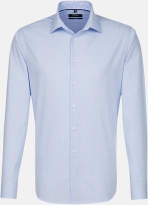 Striped Light Blue/White (herr, tailored fit) Rutiga och randiga Seidensticker skjortor med reklamtryck