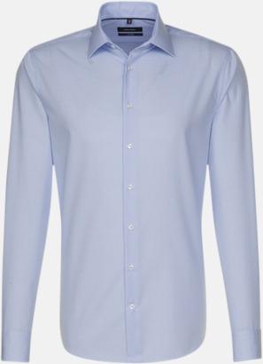 Check Light Blue/White (herr, tailored fit) Rutiga och randiga Seidensticker skjortor med reklamtryck