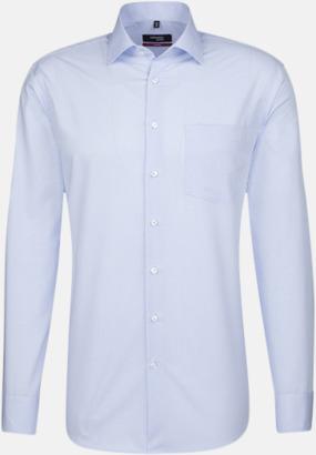 Check Light Blue/White (herr, modern fit) Rutiga och randiga Seidensticker skjortor med reklamtryck