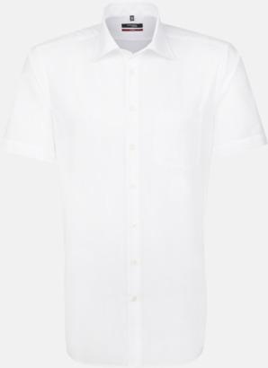 Vit (herr) Kortärmade blusar & skjortor från Seidensticker med reklamtryck