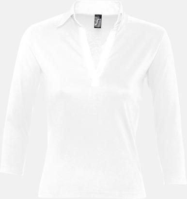Vit (dam) 2-färgade pikétröjor med reklamtryck