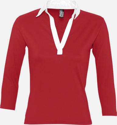 Carmine Red/Vit (dam) 2-färgade pikétröjor med reklamtryck