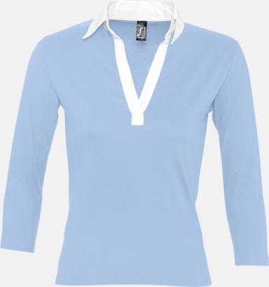 Sky Blue/Vit (dam) 2-färgade pikétröjor med reklamtryck