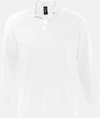 Vit (herr) 2-färgade pikétröjor med reklamtryck