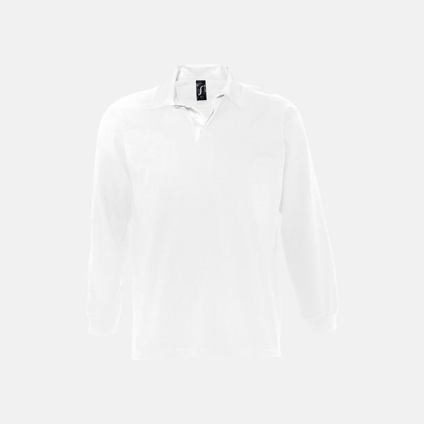 Vit 2-färgade pikétröjor med reklamtryck