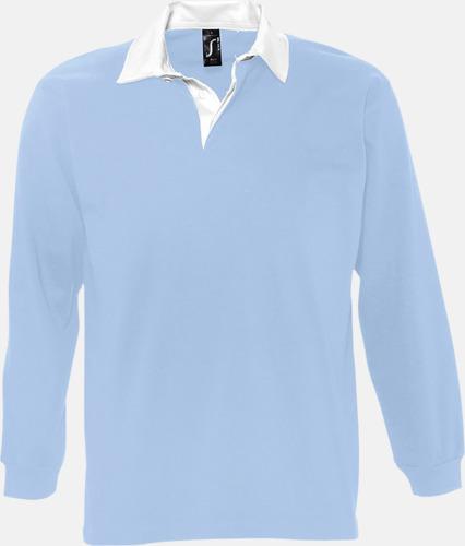 Sky Blue/Vit (herr) 2-färgade pikétröjor med reklamtryck