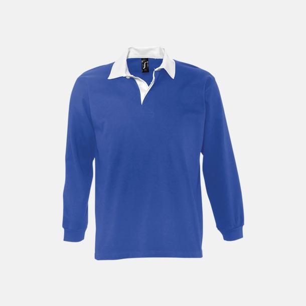 Royal/Vit 2-färgade pikétröjor med reklamtryck