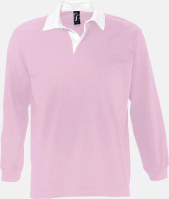 Rosa/Vit (herr) 2-färgade pikétröjor med reklamtryck