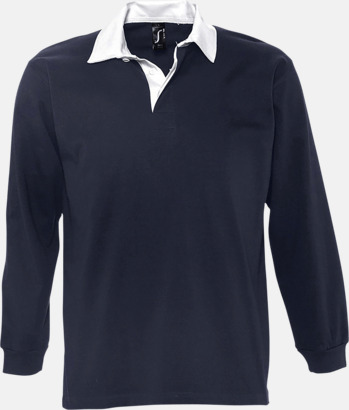 Marinblå/Vit (herr) 2-färgade pikétröjor med reklamtryck