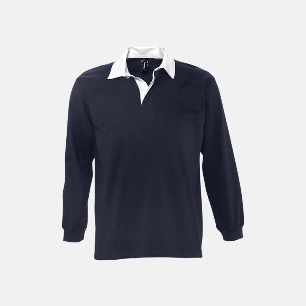 Marinblå/Vit 2-färgade pikétröjor med reklamtryck