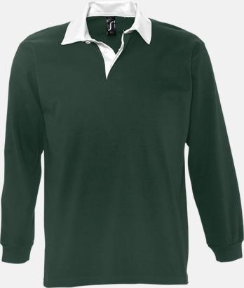 Mörkgrön/Vit (herr) 2-färgade pikétröjor med reklamtryck