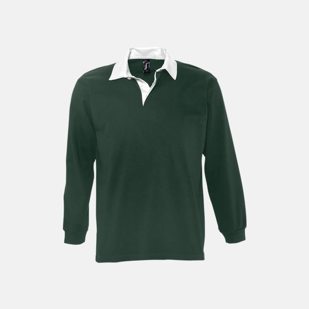 Mörkgrön/Vit 2-färgade pikétröjor med reklamtryck