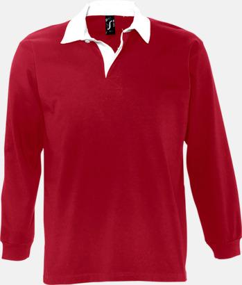 Carmine Red/Vit (herr) 2-färgade pikétröjor med reklamtryck