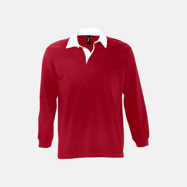 Carmine Red/Vit 2-färgade pikétröjor med reklamtryck