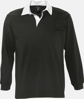 Svart/Vit (herr) 2-färgade pikétröjor med reklamtryck