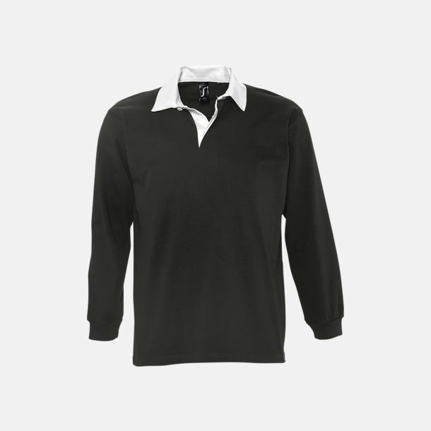 Svart/Vit 2-färgade pikétröjor med reklamtryck