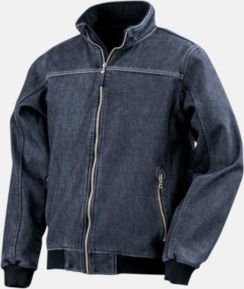 Washed Blue Denim softshell-jackor med reklamlogo