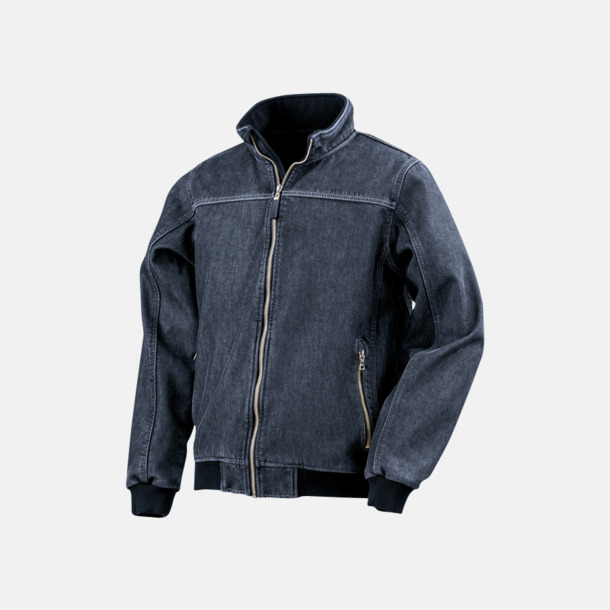 Washed Blue Denim softshell-jackor med reklamlogo