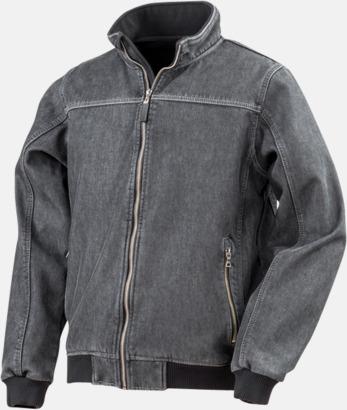 Washed Black Denim softshell-jackor med reklamlogo