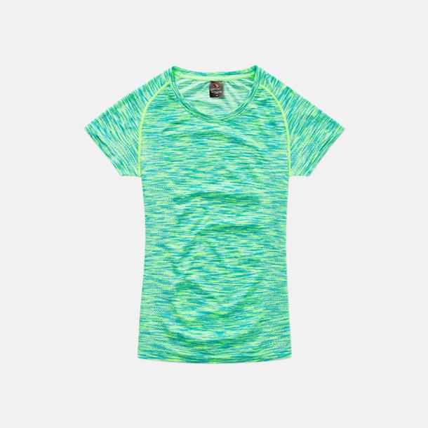 Kiwi Melange (dam) Flerfärgade funktions t-shirts med reklamtryck