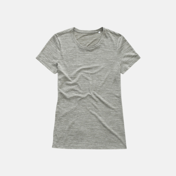 Grey Heather (dam) Fina tränings t-shirts med reklamtryck
