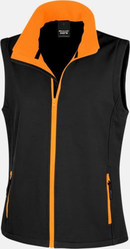 Svart/Orange (dam) Herr- & dam softshell-västar med reklamtryck