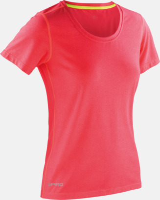 Hot Coral/Lime Punch (dam) Fitness t-shirts med reklamtryck