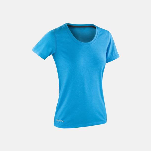 Ocean Blue/Phantom Grey (dam) Fitness t-shirts med reklamtryck
