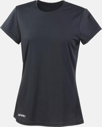 Svart (dam) Snabbtorkande funktions t-shirts med reklamtryck
