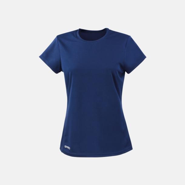 Marinblå (dam) Snabbtorkande funktions t-shirts med reklamtryck