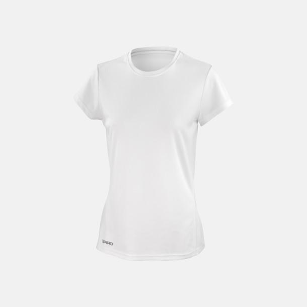Vit (dam) Snabbtorkande funktions t-shirts med reklamtryck