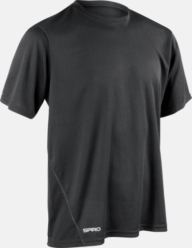 Svart (herr) Snabbtorkande funktions t-shirts med reklamtryck
