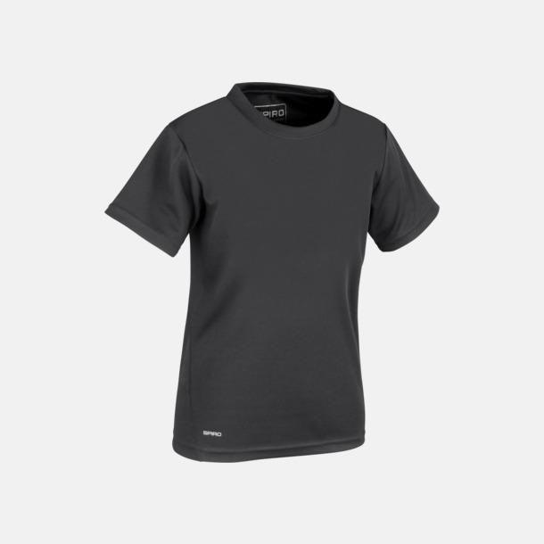 Svart (barn) Snabbtorkande funktions t-shirts med reklamtryck