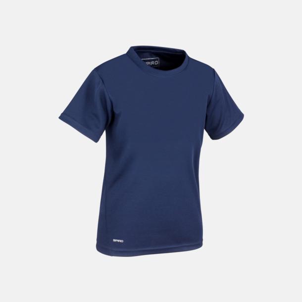 Marinblå (barn) Snabbtorkande funktions t-shirts med reklamtryck