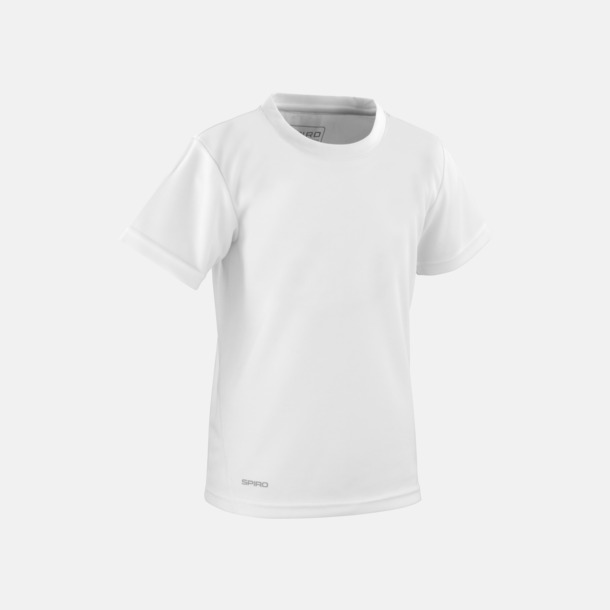 Vit (barn) Snabbtorkande funktions t-shirts med reklamtryck