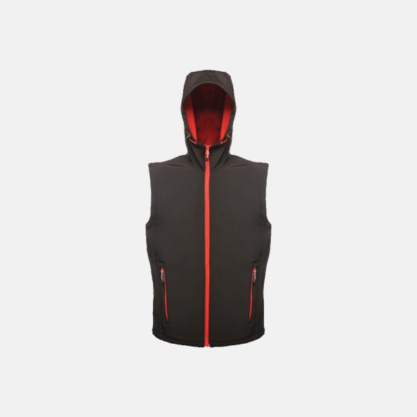 Svart/Classic Red (herr) Huvförsedda softshell bodywarmers med reklamlogo
