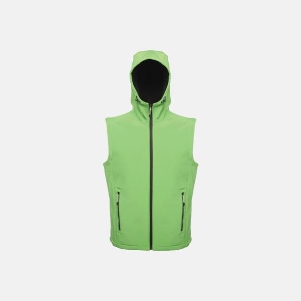 Extreme Green/Svart (herr) Huvförsedda softshell bodywarmers med reklamlogo