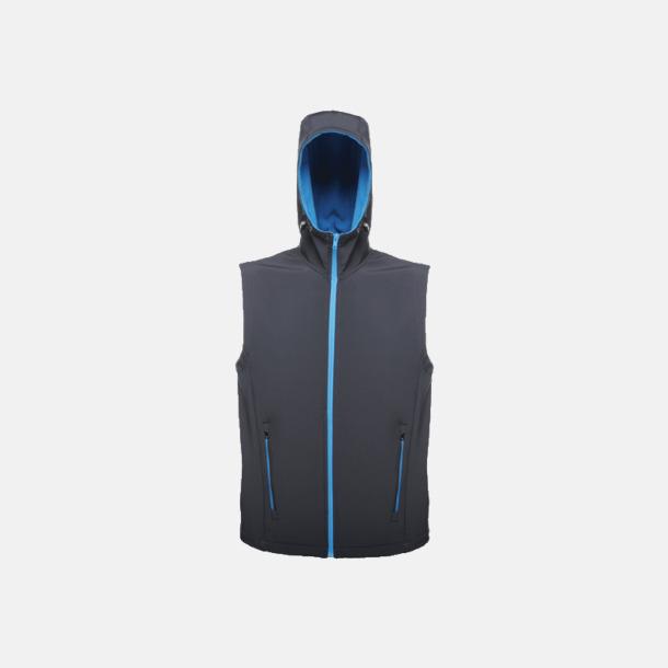 Marinblå/Oxford Blue (herr) Huvförsedda softshell bodywarmers med reklamlogo