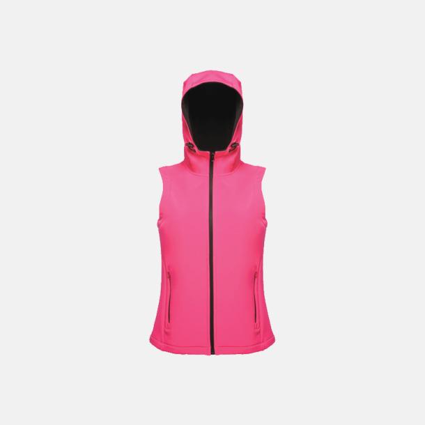 Hot Pink/Svart (dam) Huvförsedda softshell bodywarmers med reklamlogo