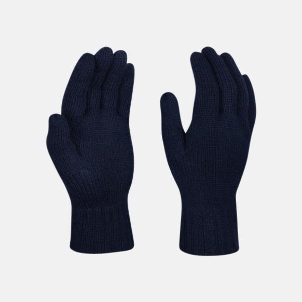 Marinblå Stickade handskar med reklamlogo