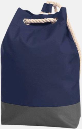 Marinblå Sailorinspirierade ryggsäckar med reklamtryck