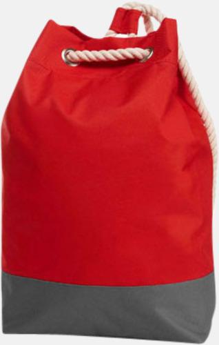 Röd Sailorinspirierade ryggsäckar med reklamtryck
