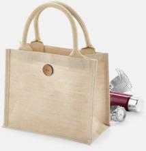 Jute- & bomullskasse i miniformat med reklamtryck