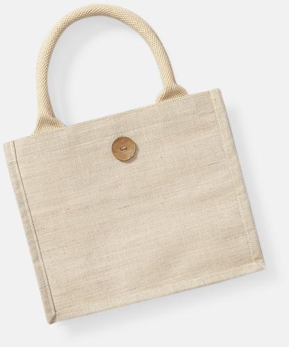 Natur Jute- & bomullskasse i miniformat med reklamtryck