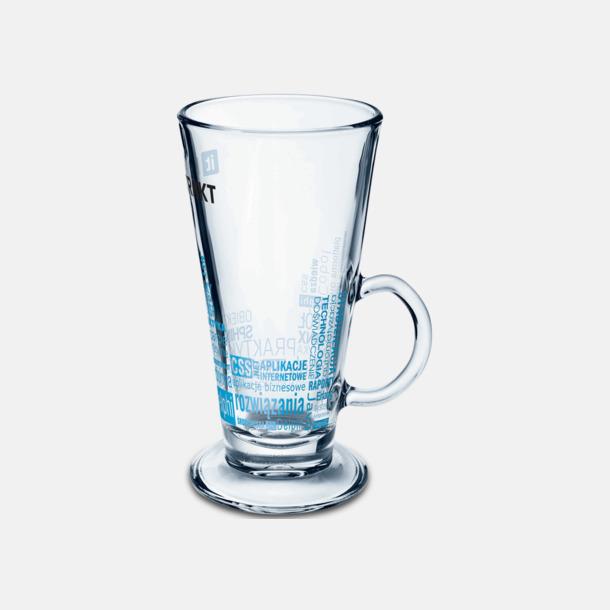 Transparent Muggar av glas med reklamlogo