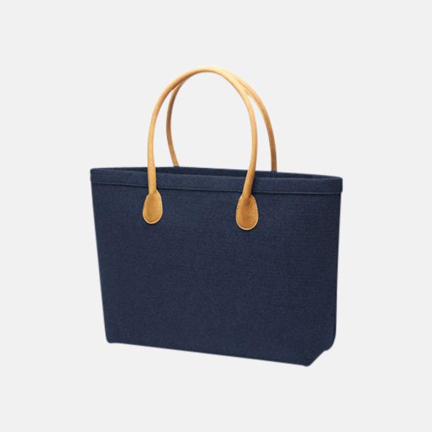Marinblå Shoppingväskor i filt - med reklamtryck